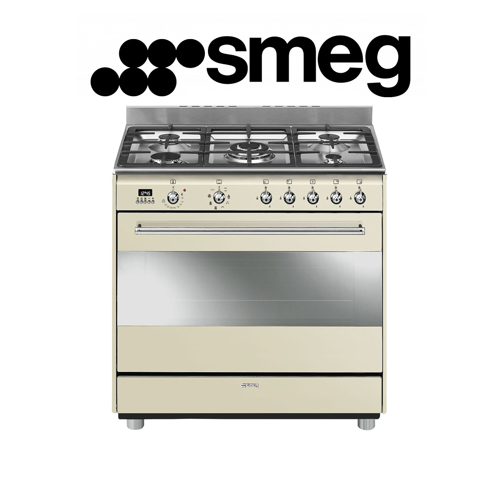Smeg 90cm Vintage Vintage Cream Concert Cooker with 5 Burner Gas hob and Multifunction Thermoventilated Oven Energy rating: A - SSA91MAP9