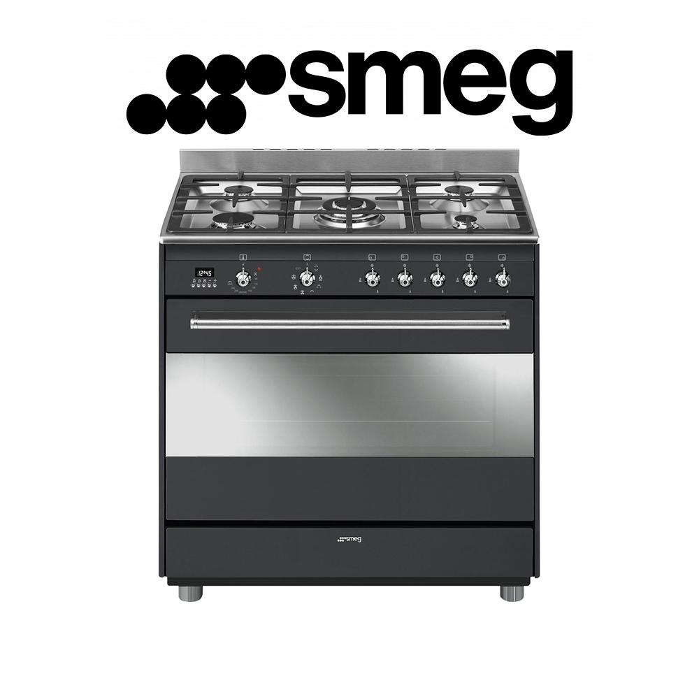 Smeg 90cm Anthracite Concert Cooker with 5 Burner Gas hob and Multifunction Thermoventilated Oven Energy rating: A - SSA91MAA9