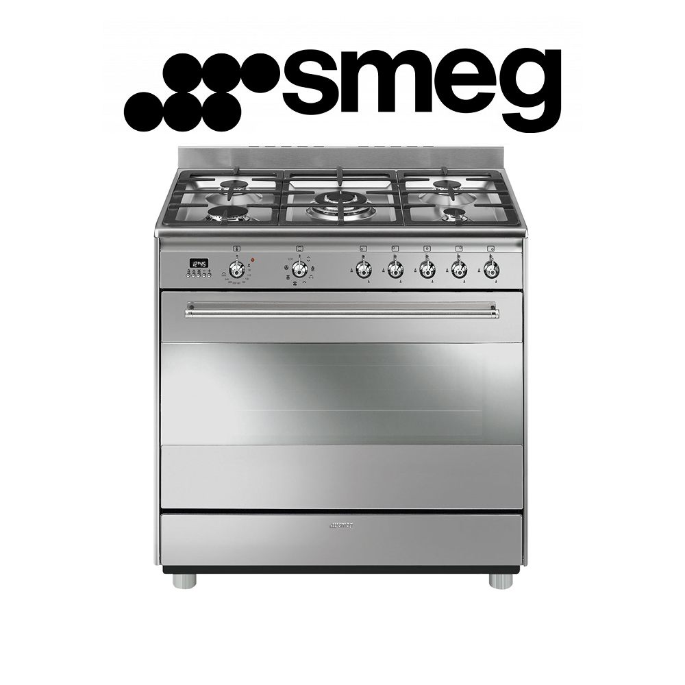Smeg 90cm Stainless Steel Concert Cooker with 5 Burner Gas hob and Multifunction Thermoventilated Oven Energy rating: A - SSA91MAX9