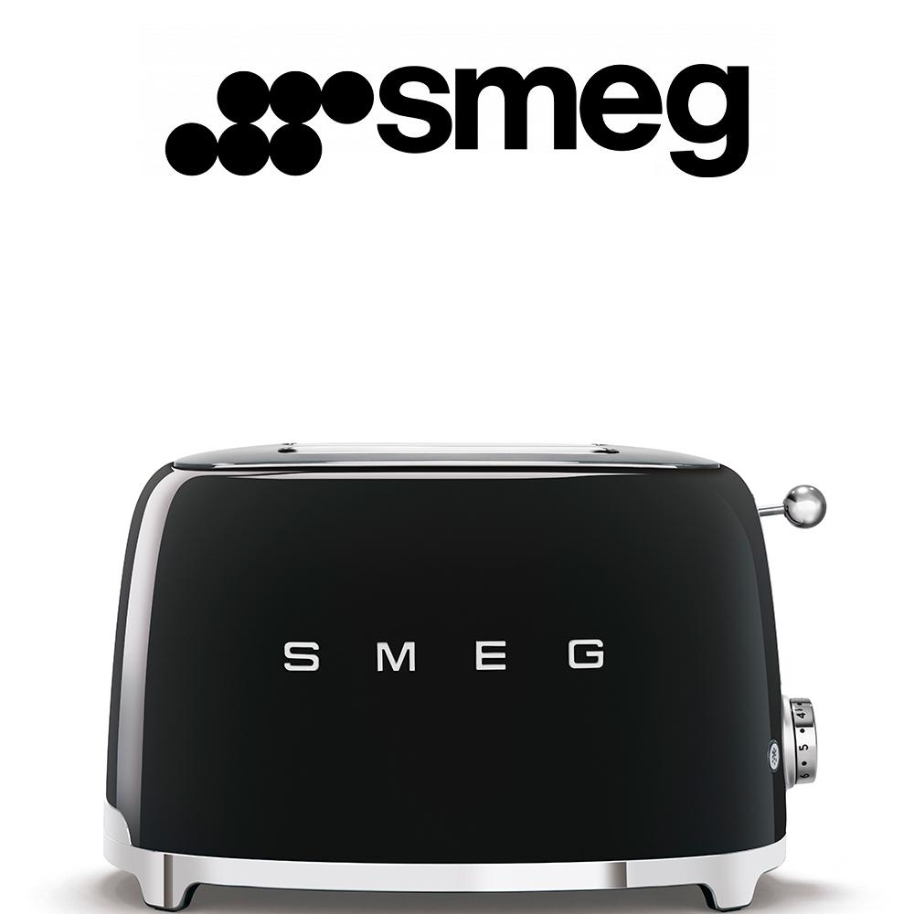 Smeg 50's Style Black Retro 2 Slice Toaster - TSF01BLSA